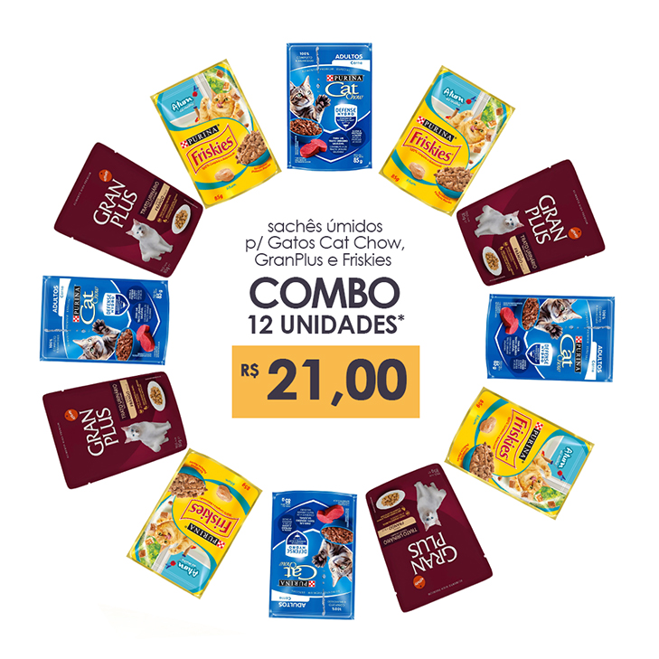COMBO Sachês Friskies, Gran Plus e Cat Chow